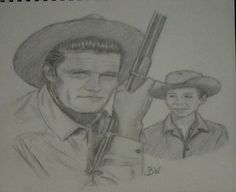 CHUCK CONNORS CELEBRITY REALISM GRAPHITE PENCIL DRAWING SMALL 11X14 BY ARTIST BW #Realism