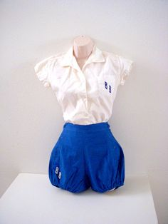 Vintage 40s 50s Gym Suit with Bloomers - Blue and White Phys Ed Shorts Set from Om Again Vintage  https://www.etsy.com/listing/194248442/vintage-40s-50s-gym-suit-with-bloomers?ref=shop_home_active_1