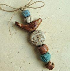 Ceramic Beads Set - Green Bird - , Clay, handmade rustic art and jewelry supplies
