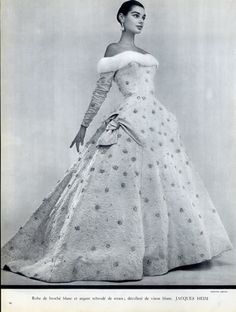 Jacques Heim 1955 Embroidery Evening Gown, Photo Guy Arsac by Guy Arsac | Hprints.com
