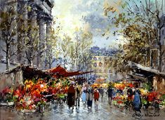 Flower Market Madeleine Painting by Antoine Blanchard | Oil Painting
