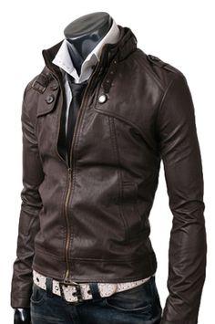 $179 Button Pocket Leather Jacket Dark Brown
