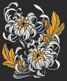 Explore the tattoos collection - the favourite images chosen by on DeviantArt. Japanese Flower Tattoo, Japanese Flowers, Japanese Art, Flor Oriental Tattoo, Crisantemo Tattoo, Chrysanthemum Drawing, Family First Tattoo, Traditional Tattoo Flowers, Kunst Tattoos