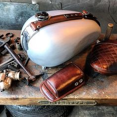 Leather Work well done seat and tank belt made in Heroes Motorcyles Los Angeles…