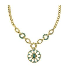Exquisite Embellishment Floral Medallion Pendant Necklace ($108) ❤ liked on Polyvore