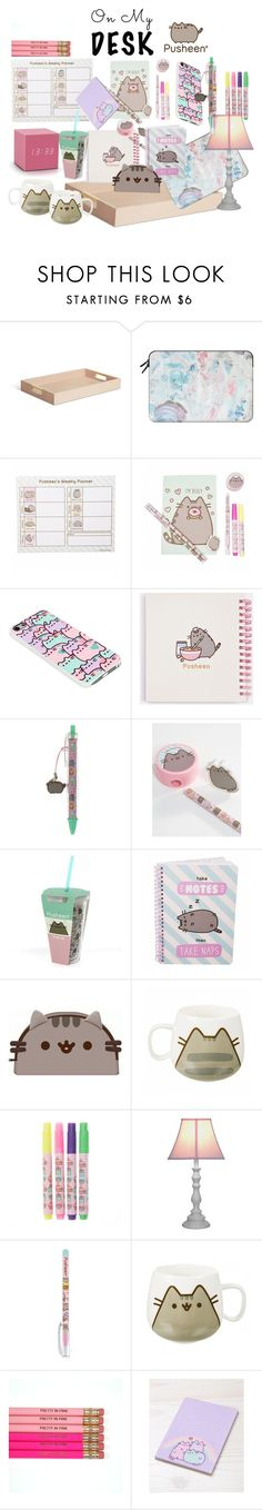 """Pusheen"" by star-lightt on Polyvore featuring interior, interiors, interior design, home, home decor, interior decorating, AERIN, Casetify, Pusheen and Gingko Electronics"