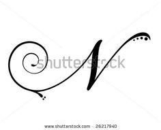 Antique Letter N Script Monogram Digital by