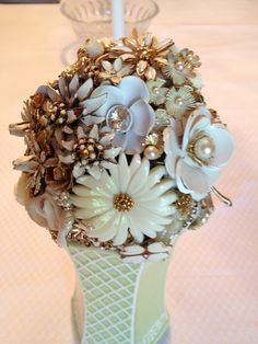 Crafts Made From Old Jewelry | Flower bouquet made from vintage jewelry