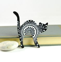 Black and White Cat Brooch  hand painted wooden by PumpkinDesign, $19.00