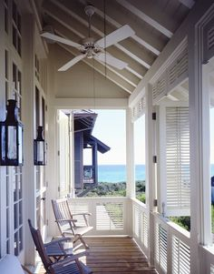 Second Floor Deck with Screened in Porch Design and Stairs - Decomagz Cottages By The Sea, Beach Cottages, Coastal Homes, Coastal Living, Country Living, Style At Home, Outdoor Spaces, Outdoor Living, Estilo Navy