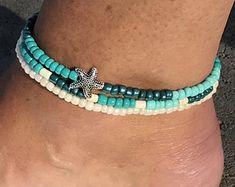 Ankle Bracelet, Beach Anklet, Anklet, Starfish Anklet, Beaded Anklet, Womans Anklet, Beach Jewelry, Beaded Anklet Bracelet, Ankle Bracelets