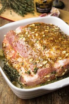 Pork roast in mustard and honey sauce … - Fleisch I Love Food, Good Food, Yummy Food, Pork Recipes, Cooking Recipes, Healthy Recipes, Roasted Meat, Pork Dishes, Special Recipes