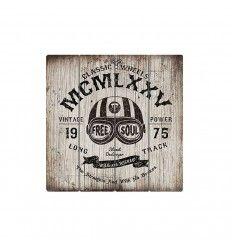 Cartel de tablones de madera decorados MCMLXXV casco ref HF7627