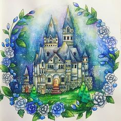 Fairytale castle in RC:1 #romanticcountry #romanticcountrycoloringbook #inktense #大人の塗り絵 #ロマンティックカントリー #eriy