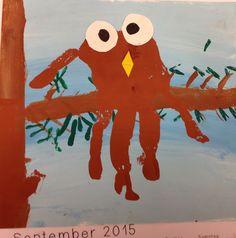 Hand in Hand durchs Jahr: Oktober Owl handprint kids art.