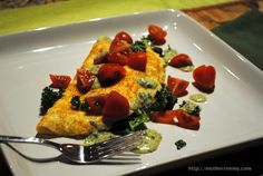 Skinny spinach omelette with a savory Dijon sauce.