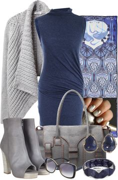 """""""Blue Dress with Gray Items"""" by gangdise on Polyvore"""