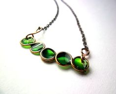 Wire Wrapped and Resin Necklace  Little Green by ThePurpleBalloon, €15.00