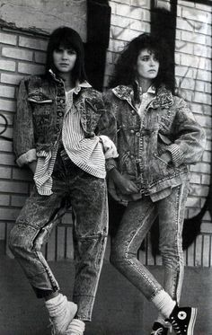 Matching denim jacket and jeans.....oh yeah.... American Vogue, December 1986.