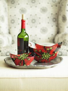 Snack Set  Red Poppy Large& Small Handle Bowls Set by romyandclare