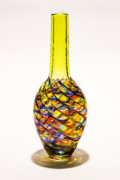 Optic Rib Bottle Vase by Michael Trimpol and Monique LaJeunesse: Art Glass Vase available at www.artfulhome.com