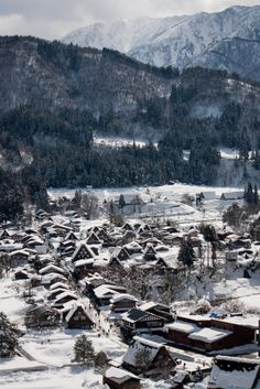 Overlooking Shirakawago | Japan (by L e o j) Beautiful Places In Japan, Beautiful World, Asia Travel, Japan Travel, Winter In Japan, Gifu, Japan Art, Dream Vacations, Wonders Of The World