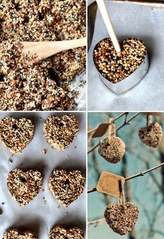 DIY birdseed hearts - Hang outside on the tree for Mom's Day!