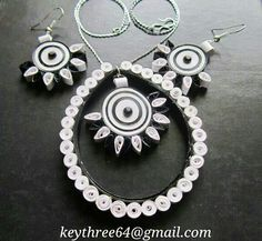 Black and white Paper Quilling Jewelry, Quilling Art, Paper Jewelry, Quiling Earings, Jewelry Sets, Jewelry Making, Earring Tutorial, Silk Thread, Washer Necklace