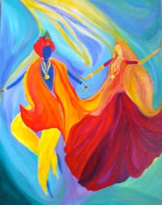 love the colors in the this abstract radha krishna painting