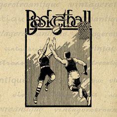 Antique Basketball Artwork Digital Printable Image Vintage Basketball Graphic Download Clip Art Jpg Png Eps 18x18 HQ 300dpi No.4227 @ vintageretroantique.etsy.com #DigitalArt #Printable #Art #VintageRetroAntique #Digital #Clipart #Download