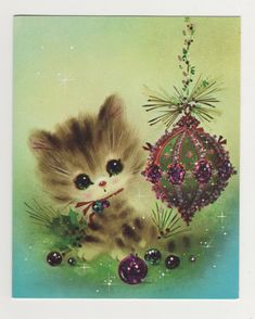 Vintage 1970s Cute Cat or Kitten with Big Eyes and Glitter Christmas Card