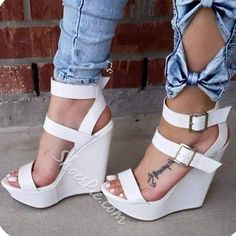 Plus Sz Womens White Wedge Heel Open Toe Buckle Sandals Party Punk High Shoes JL in Clothing, Shoes & Accessories, Women's Shoes, Heels White Wedge Heels, White Wedges, Wedge Shoes, High Shoes, Platform High Heels, Women's Shoes, Shoes 2016, Shoes Style, Shoes Sneakers
