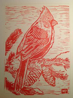 Winter Cardinal Block Print by WillPetrey