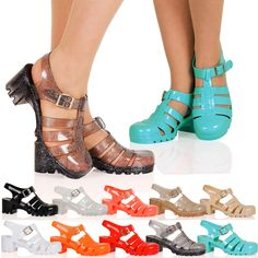 WOMENS SHOES LADIES SANDALS CHUNKY BLOCK HEEL SUMMER BUCKLE JELLY RETRO NEW SIZE #ShoeDream #Strappy