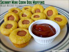Skinny Mini Corn Dog Muffins - 2 SmartPoints http://simple-nourished-living.com/2013/09/healthy-mini-corn-dog-muffins/?utm_campaign=coschedule&utm_source=pinterest&utm_medium=Healthy%20Weight%20Watchers%20Recipes%20and%20Weight%20Loss%20Tips&utm_content=Skinny%20Mini%20Corn%20Dog%20Muffins%20-%202%20SmartPoints