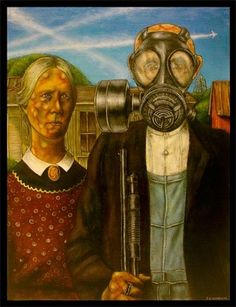 """""""American Gothic with chemtrailed skies over Austin Texas"""" Acrylics + Blood on x Canvas September """"The mind is its own place and in i. American Gothic House, American Gothic Parody, American Art, Grant Wood, Famous Artwork, Art Institute Of Chicago, Gothic Art, Renaissance Art, Look Alike"""