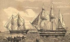 Victorian Ship An engraving, circa 1844, of HMS Erebus and HMS Terror, the two ships used by Sir John Franklin