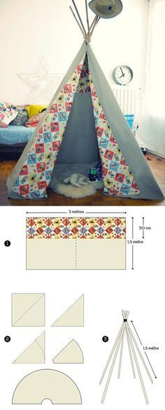 DIY Teepee Tipi Tutorial in English Diy Tipi, Sewing Projects For Beginners, Diy Projects, Teepee Tent, Teepees, Kids Tents, Baby Mobile, Kids And Parenting, Diy For Kids