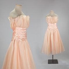Chiffon 1950s party dress M-L peach chiffon di MadCrushVintage