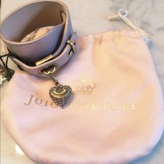 Juicy Couture Pink Leather Cuff Bracelet w/ Heart Pink leather cuff bracelet with detailed rhinestone heart charm! Brand new! Never worn Juicy Couture Jewelry Bracelets