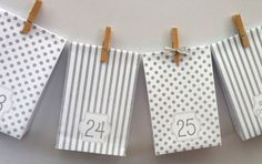 Spots and Stripes Advent Calendar. Handmade gift bags, printed, flat packed. A beautiful gift bag Advent Calendar garland. Choose color.