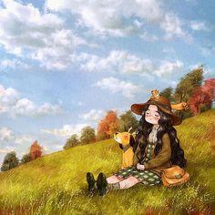 Feeling Autumn 가을 느끼기  The blue sky becomes even clearer when I close my eyes.  Autumn falls and sits just above me. 눈을 감으면 더욱 선명한 푸른 하늘. 가을이 내 위로 가만히 내려앉아요. (Full Ver. grafolio.com/works/205718)  #일러스트 #일러스트레이션 #나무 #가을 #들판 #소녀 #하늘 #가을하늘 #숲 #언덕 #illust #illustration #drawing #sketch #paint #girl #trees #sky #happy #fall #autumn