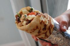 Homemade chicken gyro.