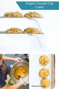 A perfect fall cookie to bake with your kids! Pumpkin Chocolate Chip Cookies are a favorite and my house.  Try them today!