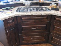 Countertop Gas Stoves | Kitchen stove top ideas - gas stove top with granite counters and dark ...