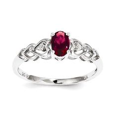 Sterling Silver Created Ruby & Diamond Ring , - Sparkle & Jade