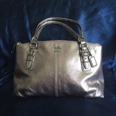 Coach Metallic Satchel {small} {Like new} beautiful authentic Coach satchel in metallic silver color. Coach Bags Satchels