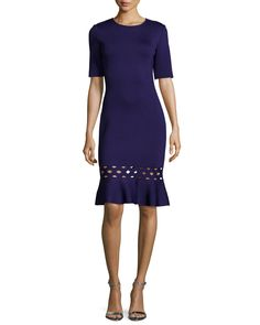 Soft Crepe Diamond-Eyelet Flounce Dress, Viola