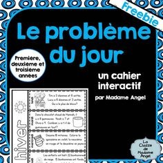 """""""Le problème du jour"""": French Math Problem of the Day Sampler for Grades 1, 2 or 3! Fun freebie!"""