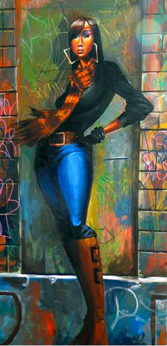 "Frank Morrison art ""Fashionista"". Too bad!!! Needs to be in my living room!"